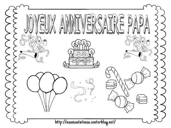 Coloriage anniversaire papa - Dessin pour maman anniversaire ...
