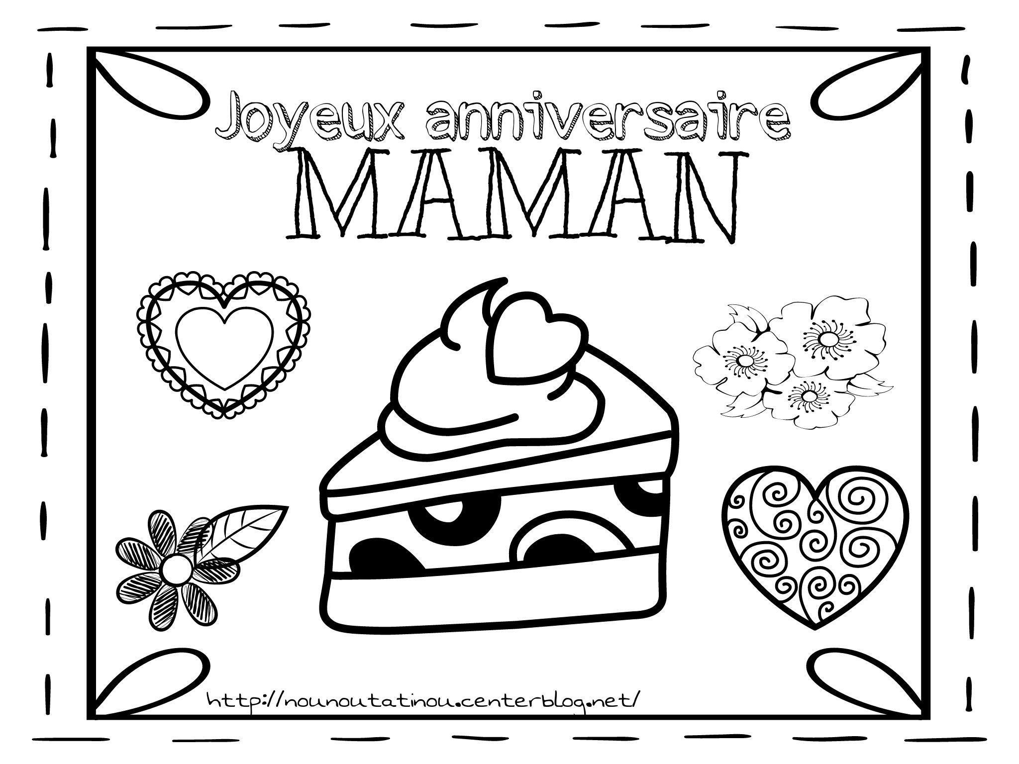 Coloriage anniversaire maman - Dessin pour maman anniversaire ...